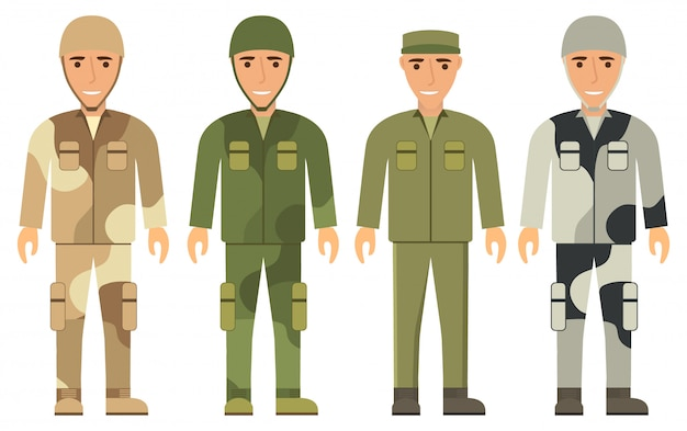 Young men in military uniform.soldiers clothes a camouflage uniform for a desert or winter.protective clothes, helmet, cap, jacket, trousers.army boots.