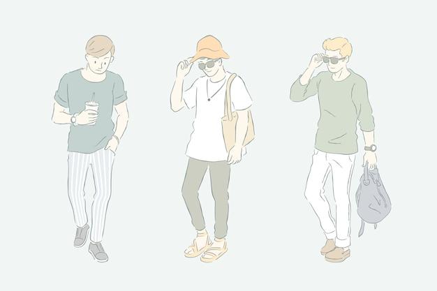 若い男性のファッションラインとグレーグリーントーン