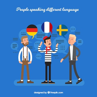 Young men speaking different languages with flat design