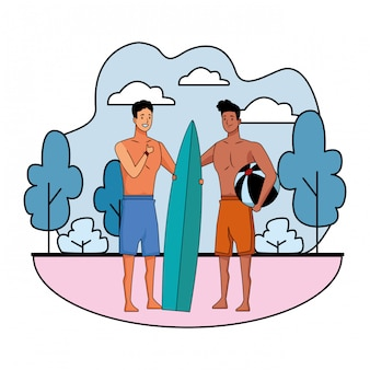 Young men in summer time cartoons