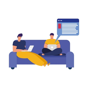 Young men using laptops in sofa connecting technology character vector illustration design