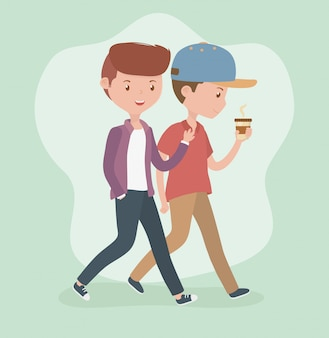 Young men walking with coffee cup avatars characters