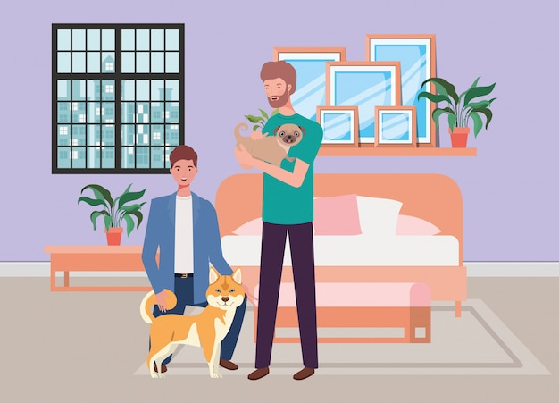 Young men with cute dogs mascots in the bedroom