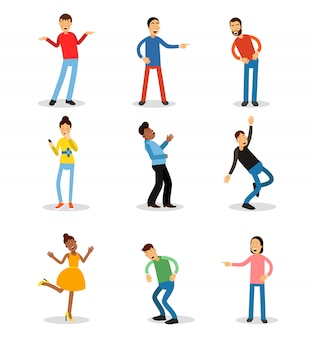 Young men and women having fun and smiling set. happy people   illustrations
