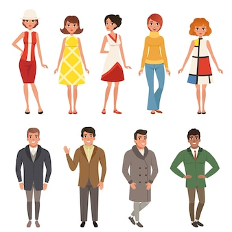 Young men and women wearing retro clothing set, vintage fashion people from 50s and 60s