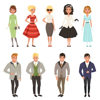Young men and women wearing vintage clothing set, retro fashion people from 50s and 60s