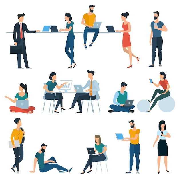 Young men and women with smartphones and gadgets communicating, texting, talking, studying and working. various flat design characters ready to animation.