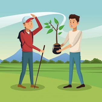 Young mens seeding a tree at nature
