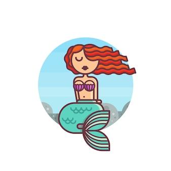 若い人魚は岩の上に座っています。フラットなデザインスタイルの漫画のキャラクター。ベクトルイラスト。