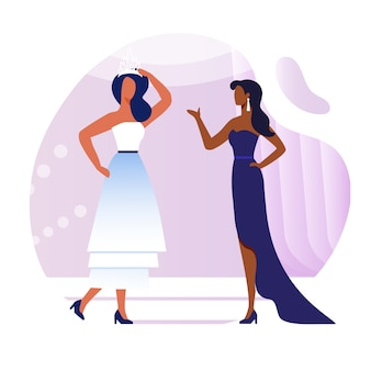 Young models conversation flat illustration