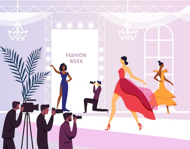 Young models on podium flat illustration