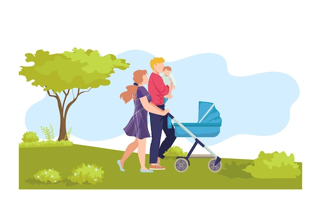 Young modern family walk baby carriage