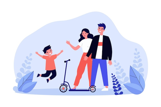 Young mom, dad and happy kid with scooter. flat vector illustration. parents giving their son scooter, walking together in nature. family, transport, entertainment, gift, attention, childhood concept