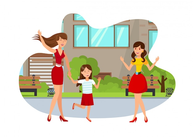 Young mom with girl flat isolated illustration