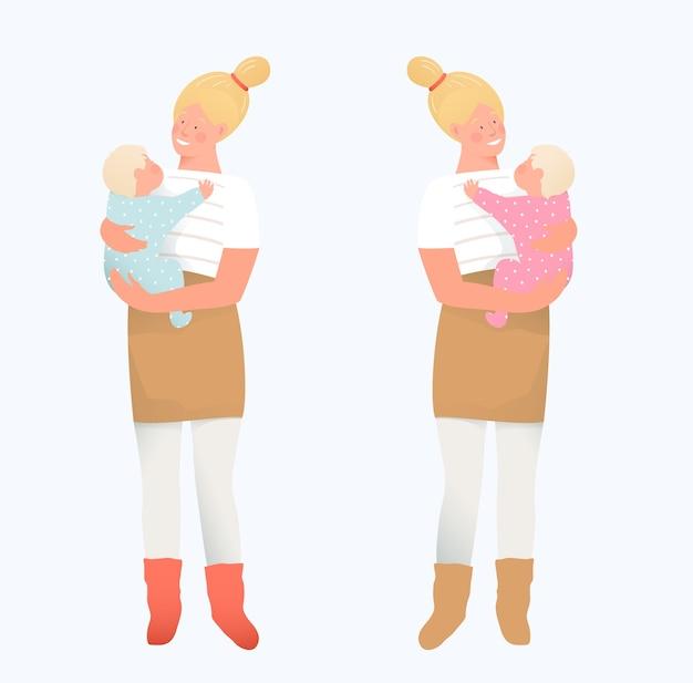 赤ちゃんと一人で若い母親