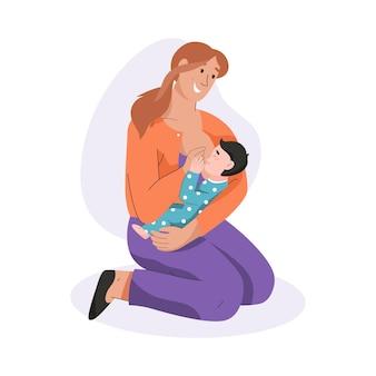 生まれたばかりの赤ちゃんを母乳で育てる若い母親