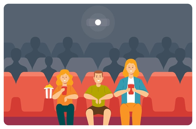 Young mother, daughter and son enjoying film at movie theatre. happy family characters watching movie at cinema eating pop corn and drink cola. people weekend entertaining. cartoon vector illustration