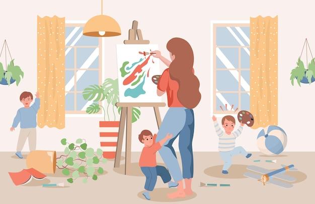 Молодая мама рисует абстрактную картину