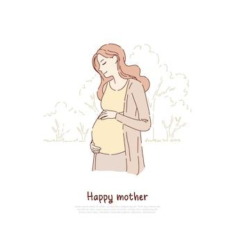 子供の概念の漫画のスケッチを期待して若い母親