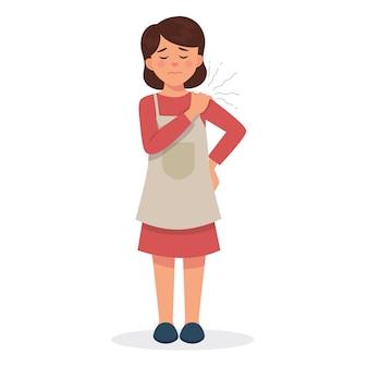 Молодая мама чувствует себя уставшей и повредила плечо