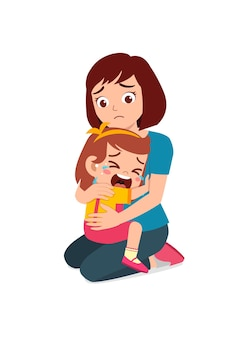 Young mother hug crying little girl and try to comfort