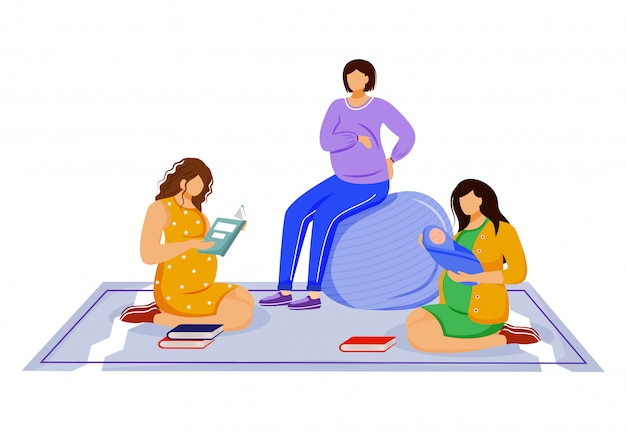 Young mother and pregnant women   illustration. rest room for parents. girl friends in pregnancy time and lady with newborn isolated cartoon characters on white background