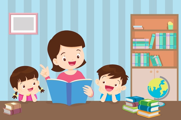 Young mother reading a book to children