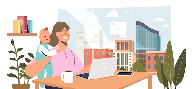 Young mother sit with baby kid and work on laptop. freelancer woman or remote worker at home office workplace. motherhood and career concept. cartoon flat vector illustration