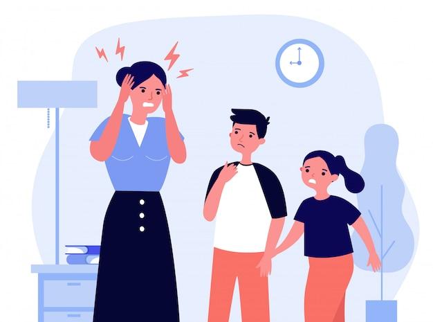 片頭痛に疲れた若い母親