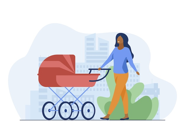 Young mother walking with baby carriage along street. mom, infant, motherhood flat vector illustration. parenthood and urban lifestyle
