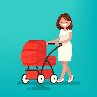 Young mother walking with a newborn that is in the pram illustration