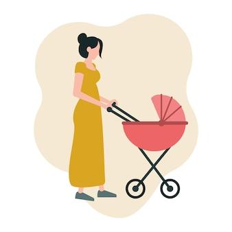 若い母親はベビーカーと一緒に歩くフラットスタイルのベクトル図