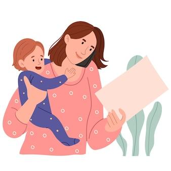 그녀의 팔에 아기와 함께 젊은 어머니가 일하고 전화로 이야기 프리미엄 벡터