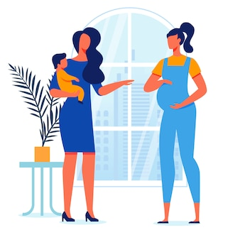 Young mothers conversation vector illustration