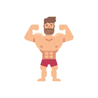 Young muscular bearded man flat illustration. fitness flat character