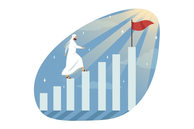 Young muslim arab businessman clerk manager leader conqueror walking on blocks profit graphs