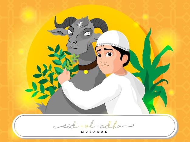 Young muslim boy feeding grass to goat for eid-al-adha mubarak concept.