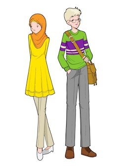Young muslim boy and girl