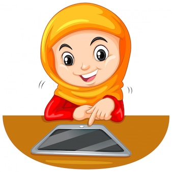 Young muslim student using a tablet