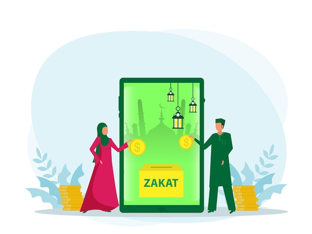 Young muslim with online pay zakat app concept on green background