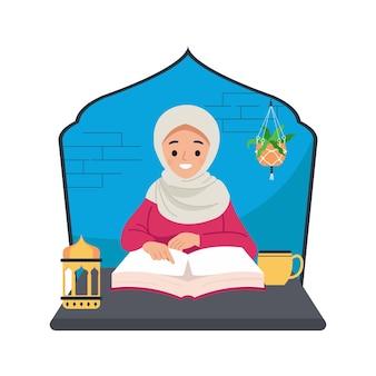 Молодая мусульманская женщина, читающая коран. исламская образовательная концепция.