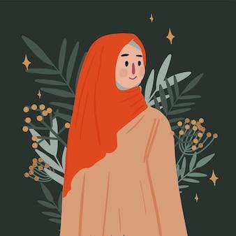 꽃 배경에 hijab 인사말 카드를 입고 젊은 무슬림 여성