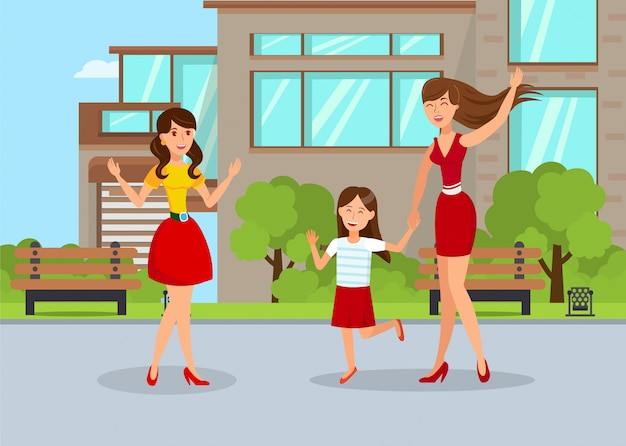 Young nanny with girl flat vector illustration
