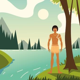 숲에서 젊은 원주민