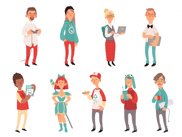 Young nerds. smart teen geeks boys and girls teenagers technology lovers characters