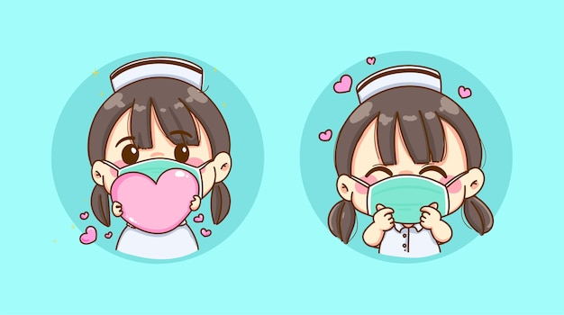 A young nurse wearing a flu mask holding pink heart and make mini heart symbol