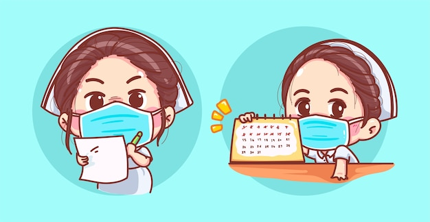 A young nurse wearing a flu mask is holding medical certificate or prescription slip and appointment schedule