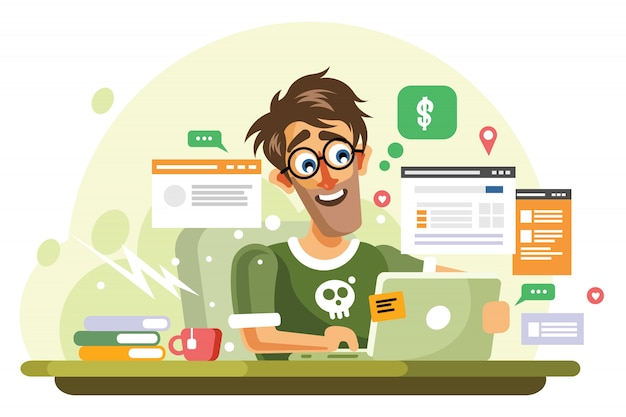 Young online entrepreneur vector illustration