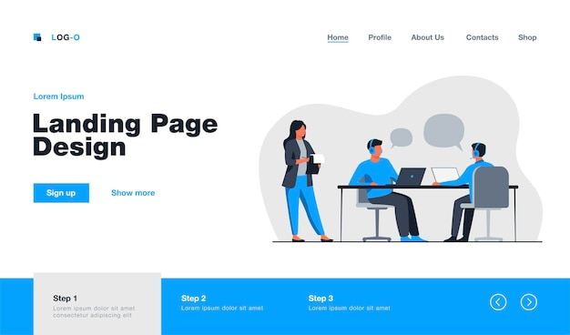 Young operators working in call center landing page in flat style.