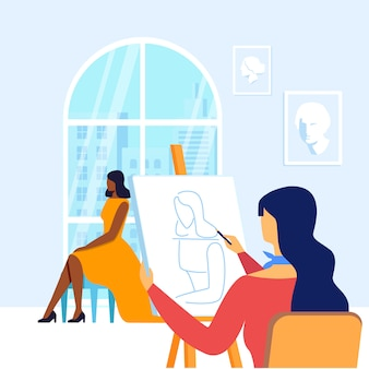 Young painter drawing model vector illustration